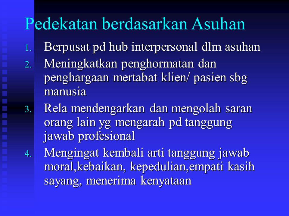 Pedekatan berdasarkan Asuhan 1.Berpusat pd hub interpersonal dlm asuhan 2.
