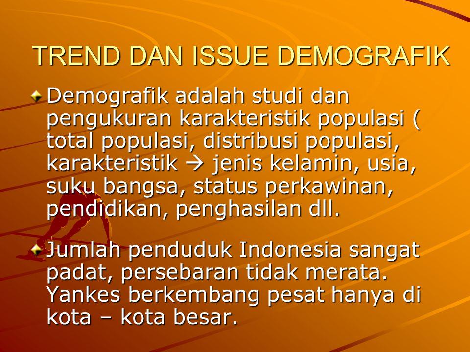 TREND DAN ISSUE DEMOGRAFIK Demografik adalah studi dan pengukuran karakteristik populasi ( total populasi, distribusi populasi, karakteristik  jenis