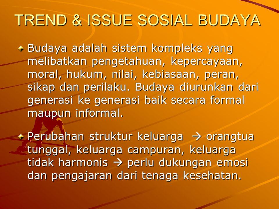 TREND & ISSUE SOSIAL BUDAYA Budaya adalah sistem kompleks yang melibatkan pengetahuan, kepercayaan, moral, hukum, nilai, kebiasaan, peran, sikap dan p
