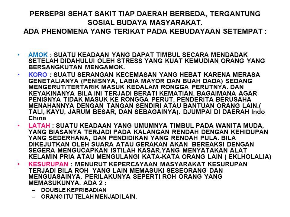 PERSEPSI SEHAT SAKIT TIAP DAERAH BERBEDA, TERGANTUNG SOSIAL BUDAYA MASYARAKAT.