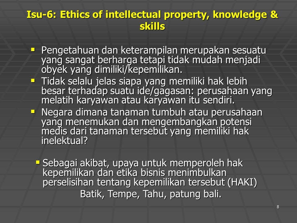 8 Isu-6: Ethics of intellectual property, knowledge & skills  Pengetahuan dan keterampilan merupakan sesuatu yang sangat berharga tetapi tidak mudah