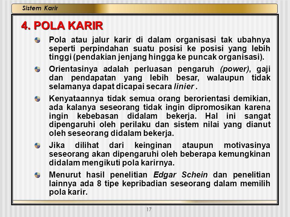 17 Sistem Karir 4. POLA KARIR Pola atau jalur karir di dalam organisasi tak ubahnya seperti perpindahan suatu posisi ke posisi yang lebih tinggi (pend