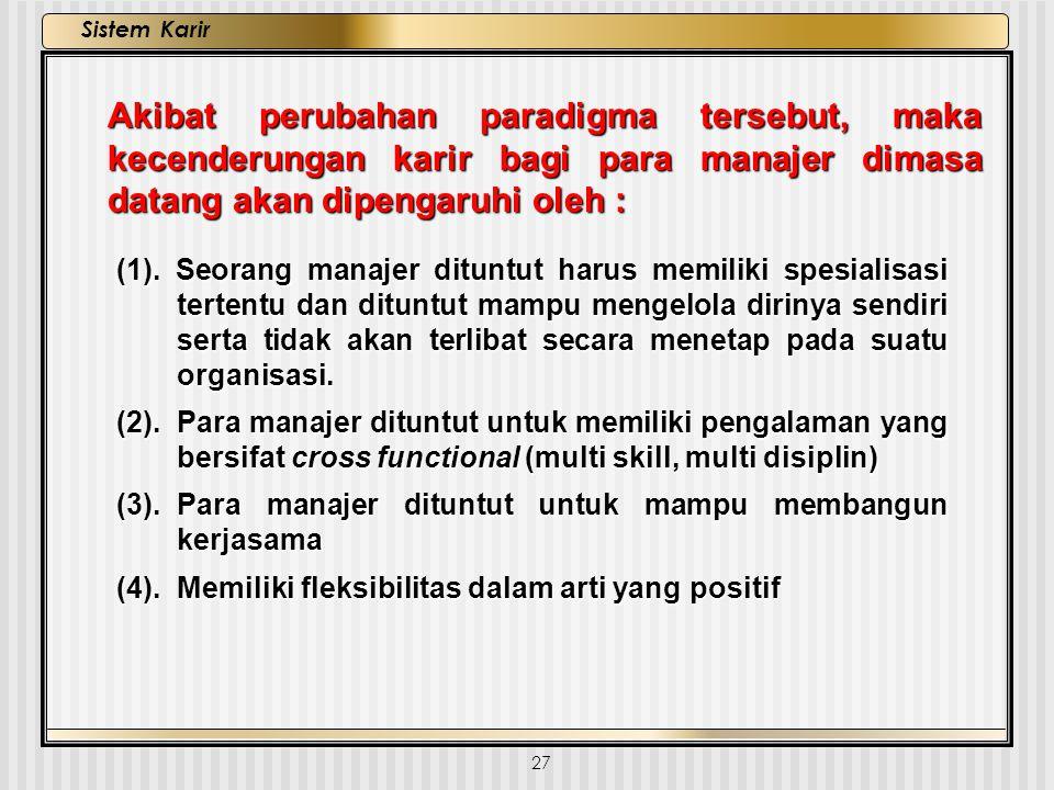 27 Sistem Karir (1). Seorang manajer dituntut harus memiliki spesialisasi tertentu dan dituntut mampu mengelola dirinya sendiri serta tidak akan terli