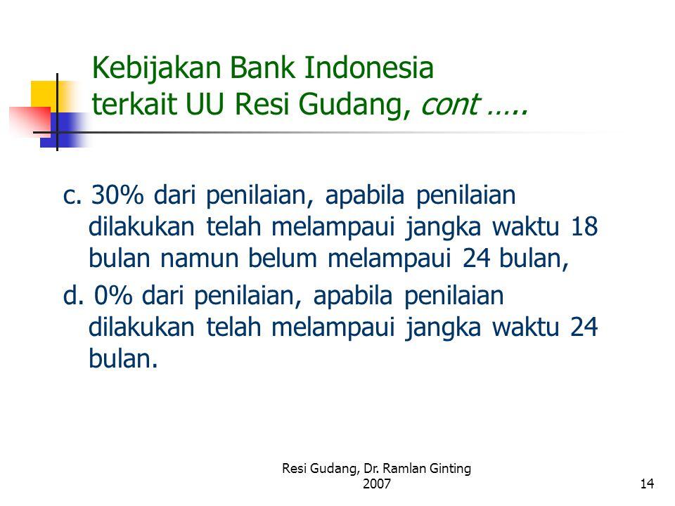 Resi Gudang, Dr. Ramlan Ginting 200714 Kebijakan Bank Indonesia terkait UU Resi Gudang, cont ….. c. 30% dari penilaian, apabila penilaian dilakukan te