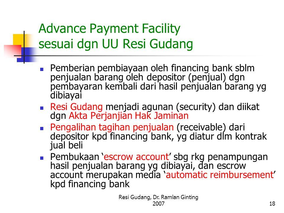 Resi Gudang, Dr. Ramlan Ginting 200718 Advance Payment Facility sesuai dgn UU Resi Gudang Pemberian pembiayaan oleh financing bank sblm penjualan bara