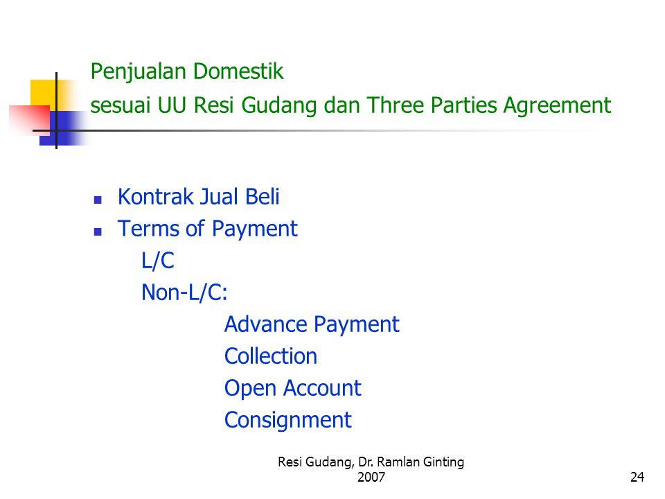 Resi Gudang, Dr. Ramlan Ginting 200724 Penjualan Domestik sesuai UU Resi Gudang dan Three Parties Agreement Kontrak Jual Beli Terms of Payment L/C Non