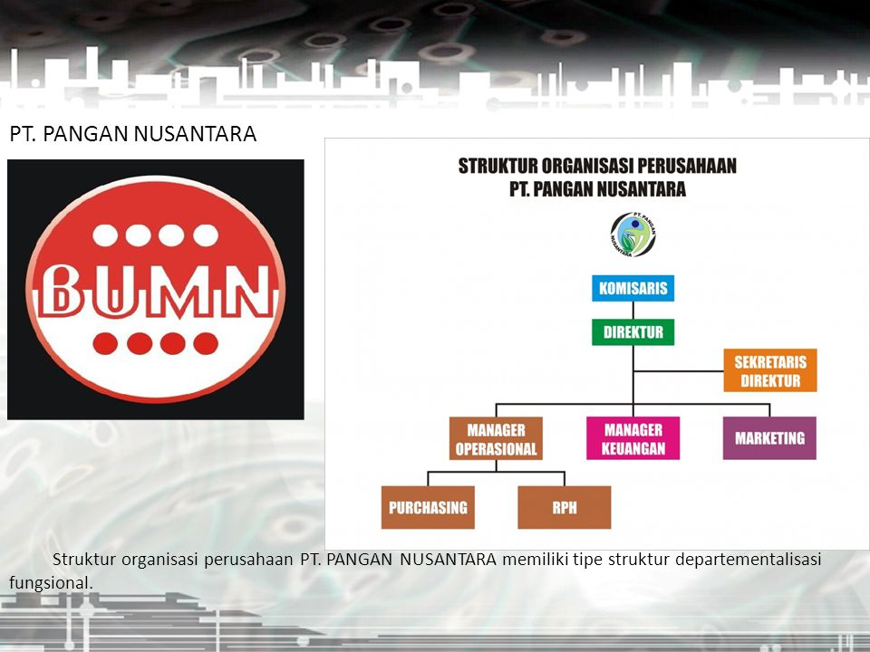 PT. PANGAN NUSANTARA Struktur organisasi perusahaan PT. PANGAN NUSANTARA memiliki tipe struktur departementalisasi fungsional.