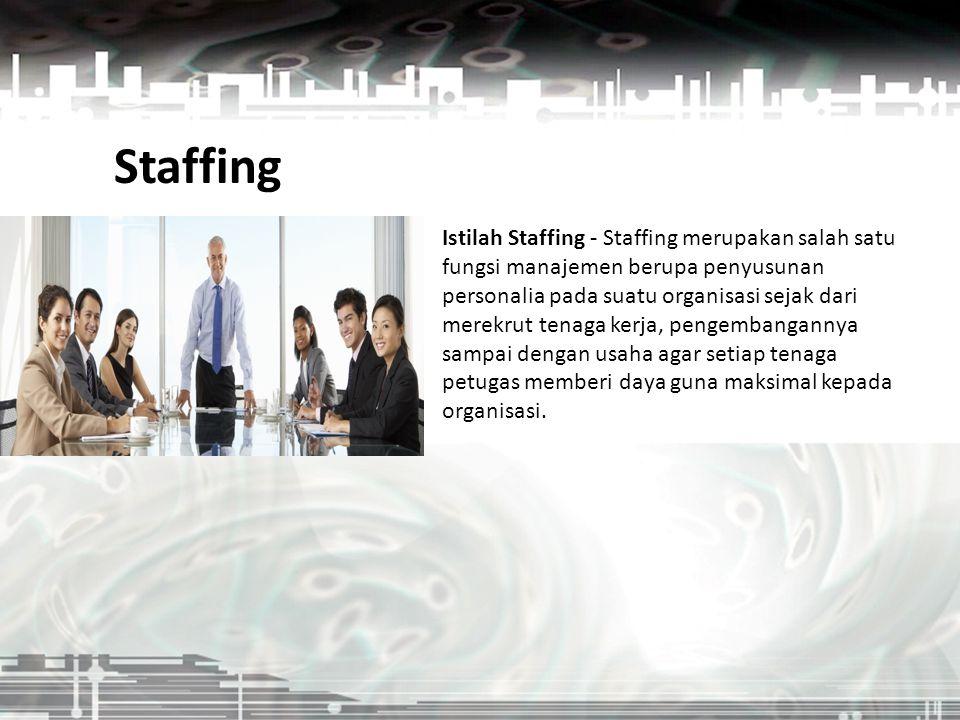 Istilah Staffing - Staffing merupakan salah satu fungsi manajemen berupa penyusunan personalia pada suatu organisasi sejak dari merekrut tenaga kerja,