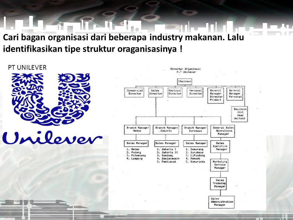 Cari bagan organisasi dari beberapa industry makanan. Lalu identifikasikan tipe struktur oraganisasinya ! PT UNILEVER