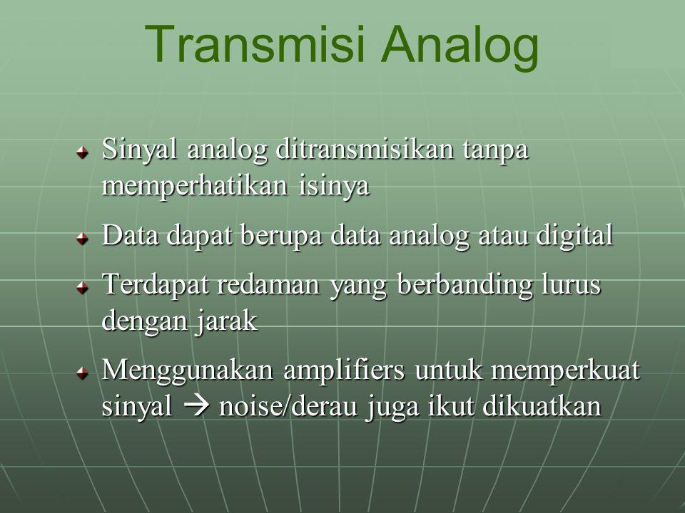 Sinyal analog ditransmisikan tanpa memperhatikan isinya Data dapat berupa data analog atau digital Terdapat redaman yang berbanding lurus dengan jarak Menggunakan amplifiers untuk memperkuat sinyal  noise/derau juga ikut dikuatkan Transmisi Analog