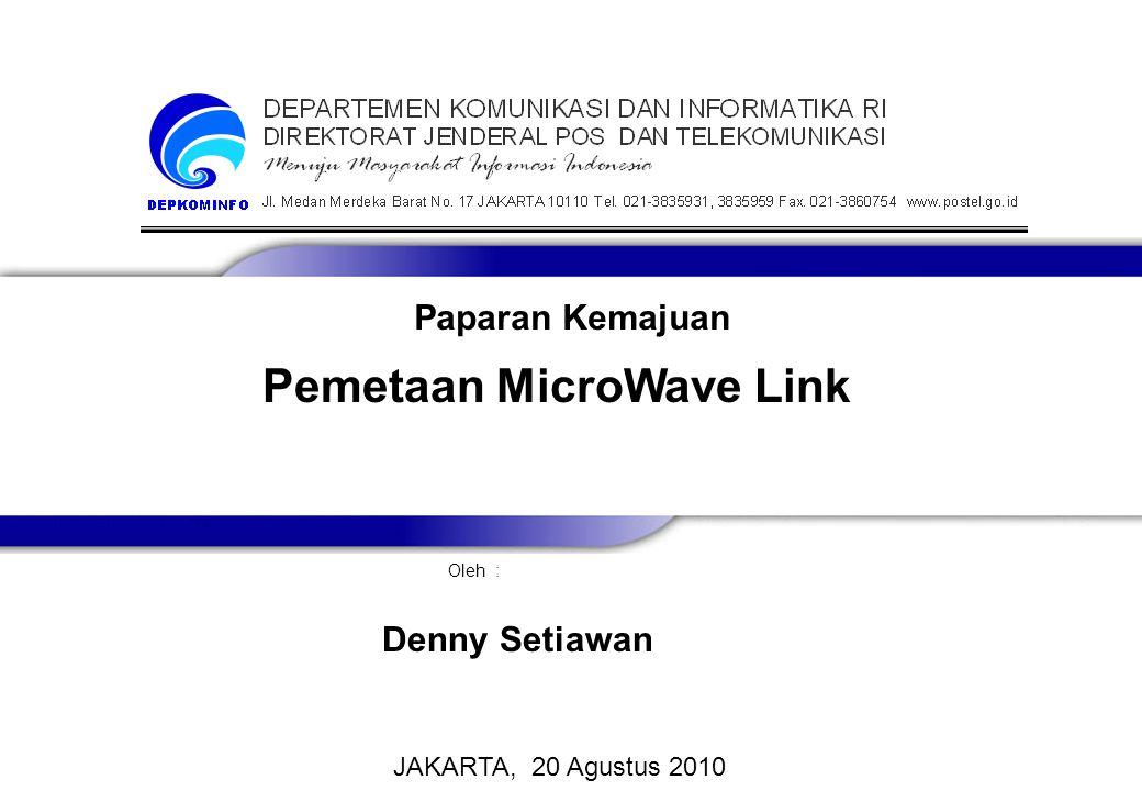 Pemetaan MicroWave Link Oleh : JAKARTA, 20 Agustus 2010 Denny Setiawan Paparan Kemajuan