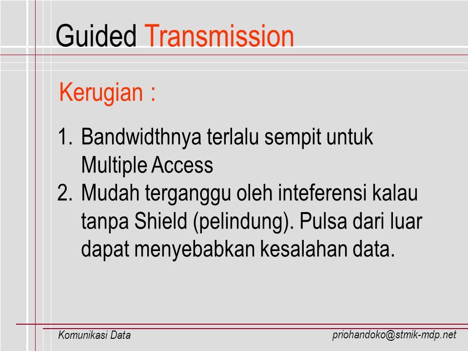 priohandoko@stmik-mdp.net Komunikasi Data 1. Bandwidthnya terlalu sempit untuk Multiple Access 2. Mudah terganggu oleh inteferensi kalau tanpa Shield