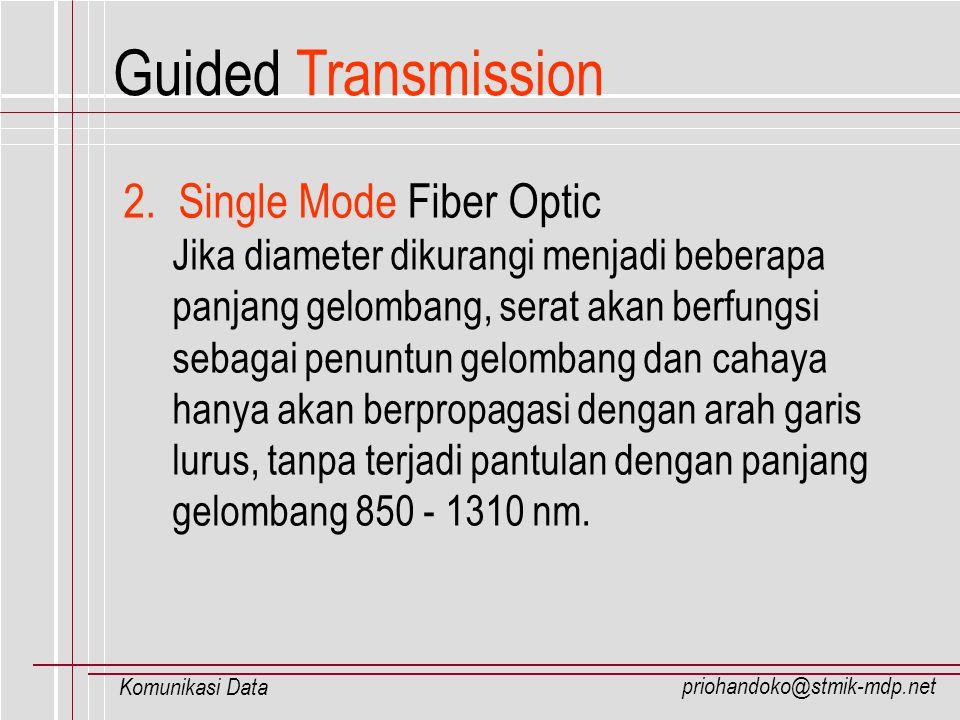 priohandoko@stmik-mdp.net Komunikasi Data 2. Single Mode Fiber Optic Jika diameter dikurangi menjadi beberapa panjang gelombang, serat akan berfungsi