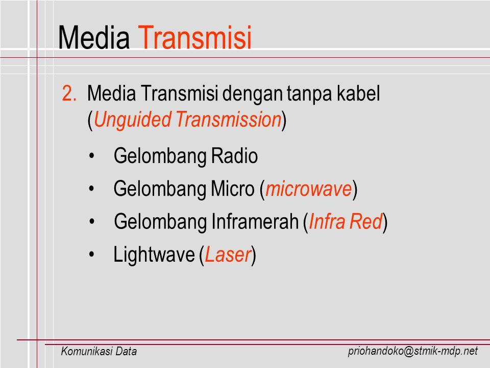 priohandoko@stmik-mdp.net Komunikasi Data Media Transmisi 2. Media Transmisi dengan tanpa kabel ( Unguided Transmission ) Gelombang Radio Gelombang Mi