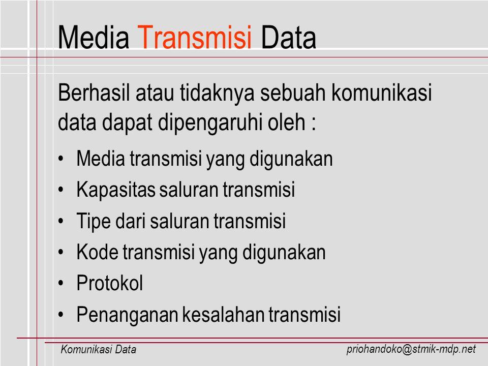 priohandoko@stmik-mdp.net Komunikasi Data Tipe-tipe kabel Coaxial : Tipe kabel Resistensi Contoh Penggunaan RG8 50 ohm Thicknet RG58/u 50 ohm Thinnet (inti tunggal) RG58 A/u 50 ohm Thinnet (inti serabut) RG62 /u 93 ohm ARCnet RG59 75 ohm CATV **RG : perbandingan (ratio) antara inti ke diameter luar kabel Guided Transmission