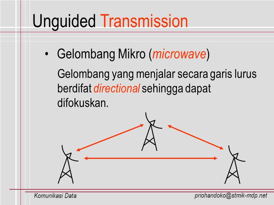 priohandoko@stmik-mdp.net Komunikasi Data Unguided Transmission Gelombang Mikro ( microwave ) Gelombang yang menjalar secara garis lurus berdifat dire