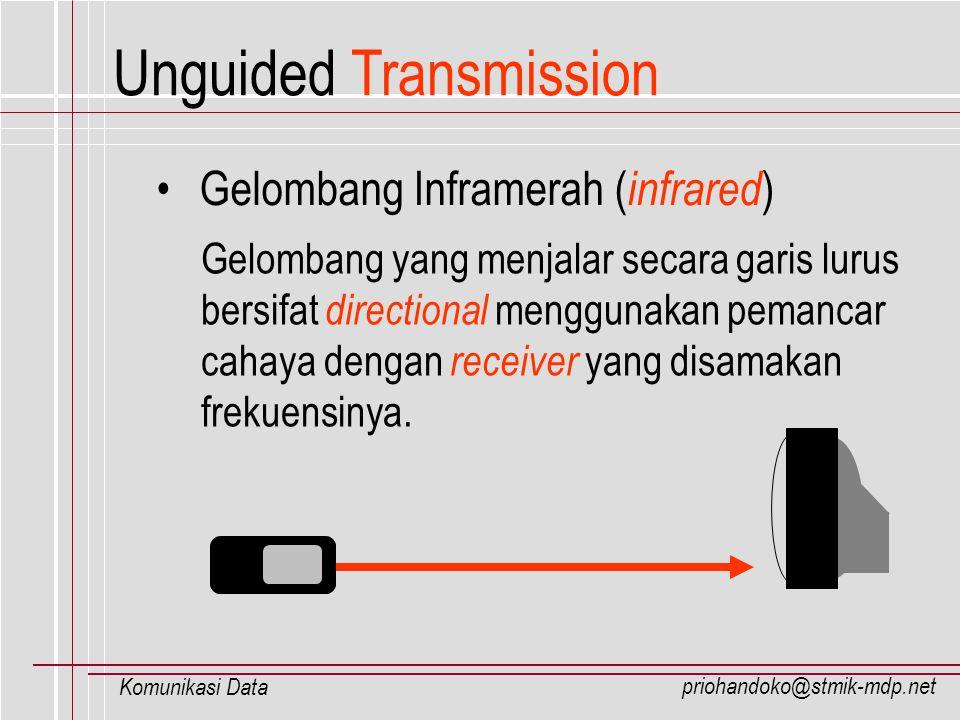 priohandoko@stmik-mdp.net Komunikasi Data Unguided Transmission Gelombang Inframerah ( infrared ) Gelombang yang menjalar secara garis lurus bersifat