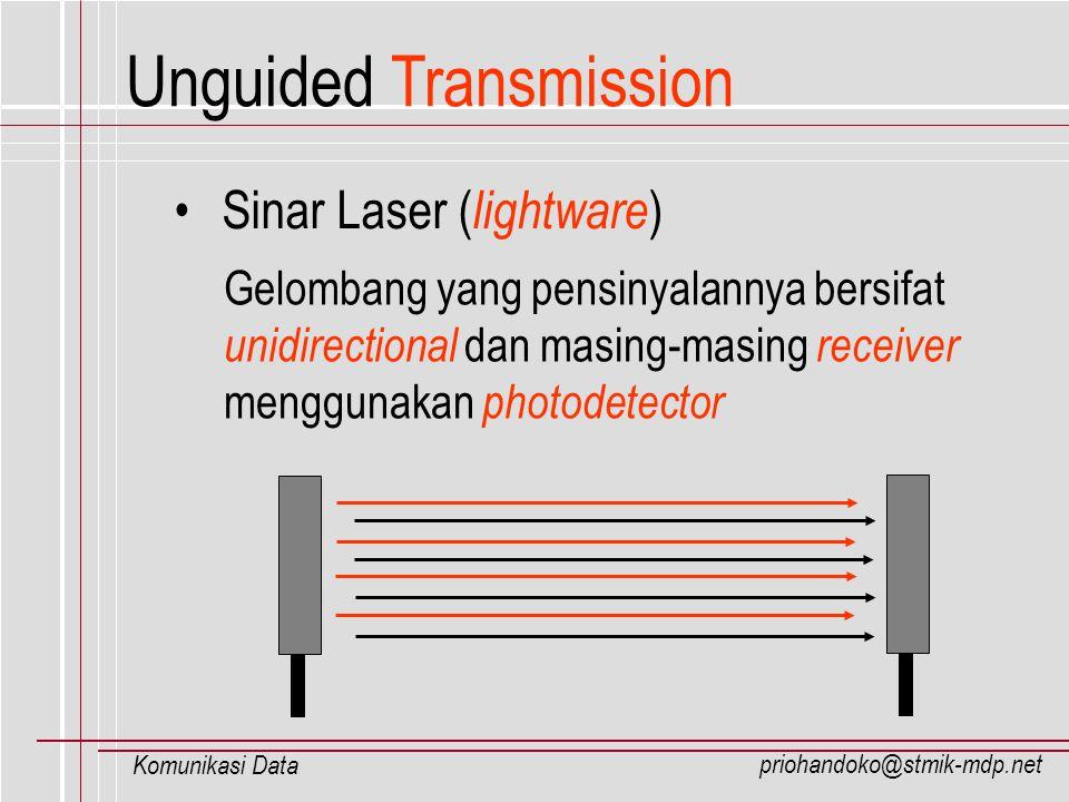 priohandoko@stmik-mdp.net Komunikasi Data Unguided Transmission Sinar Laser ( lightware ) Gelombang yang pensinyalannya bersifat unidirectional dan ma