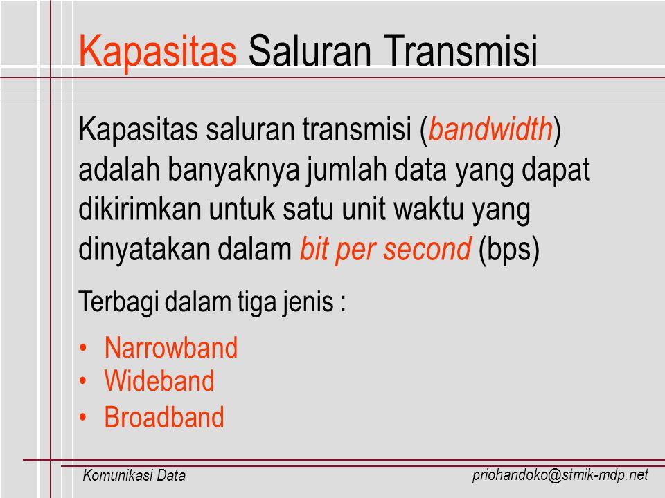 priohandoko@stmik-mdp.net Komunikasi Data Kapasitas Saluran Transmisi Kapasitas saluran transmisi ( bandwidth ) adalah banyaknya jumlah data yang dapa