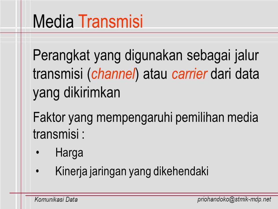 priohandoko@stmik-mdp.net Komunikasi Data Kapasitas Saluran Transmisi Kapasitas saluran transmisi ( bandwidth ) adalah banyaknya jumlah data yang dapat dikirimkan untuk satu unit waktu yang dinyatakan dalam bit per second (bps) Terbagi dalam tiga jenis : Narrowband Wideband Broadband