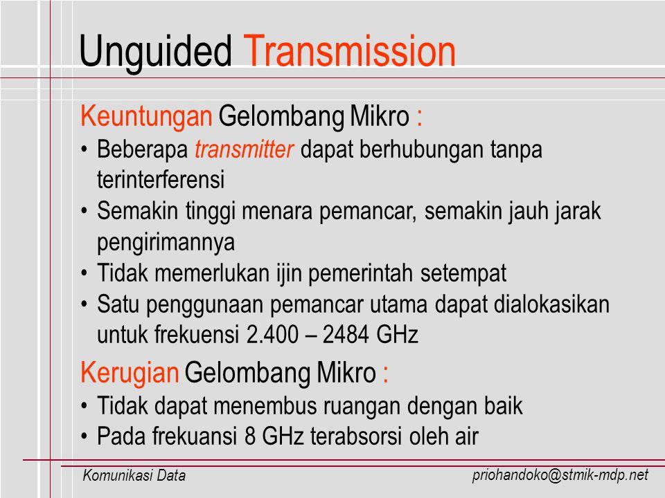 priohandoko@stmik-mdp.net Komunikasi Data Unguided Transmission Keuntungan Gelombang Mikro : Beberapa transmitter dapat berhubungan tanpa terinterfere