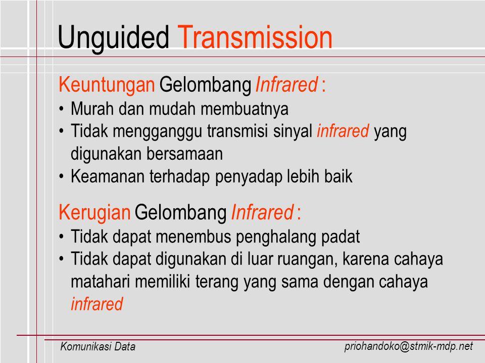 priohandoko@stmik-mdp.net Komunikasi Data Unguided Transmission Keuntungan Gelombang Infrared : Murah dan mudah membuatnya Tidak mengganggu transmisi