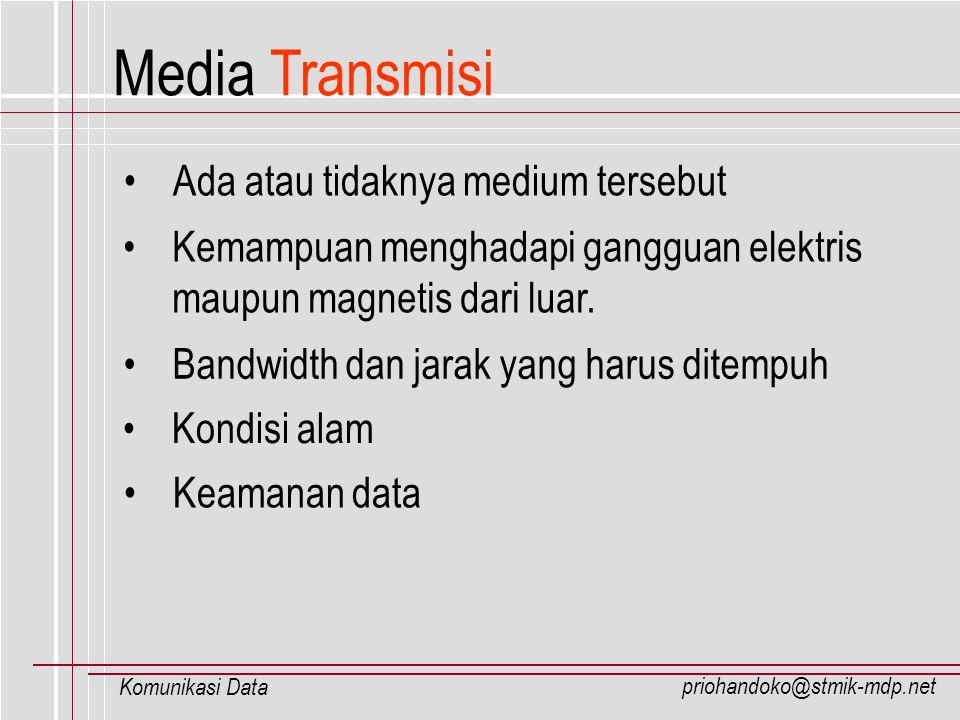 priohandoko@stmik-mdp.net Komunikasi Data Media Transmisi Bandwidth dan jarak yang harus ditempuh Kondisi alam Keamanan data Ada atau tidaknya medium