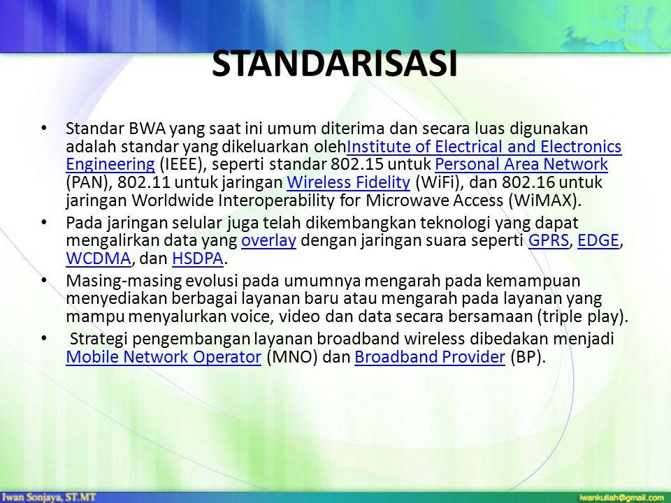 STANDARISASI Standar BWA yang saat ini umum diterima dan secara luas digunakan adalah standar yang dikeluarkan olehInstitute of Electrical and Electro