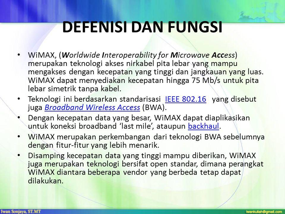 DEFENISI DAN FUNGSI WiMAX, (Worldwide Interoperability for Microwave Access) merupakan teknologi akses nirkabel pita lebar yang mampu mengakses dengan