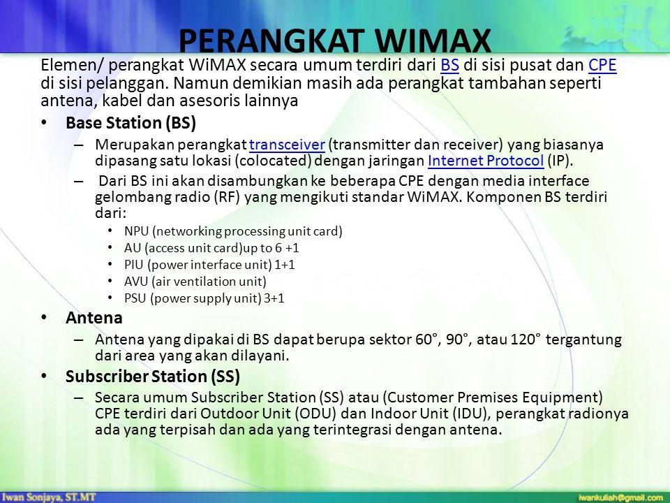 PERANGKAT WIMAX Elemen/ perangkat WiMAX secara umum terdiri dari BS di sisi pusat dan CPE di sisi pelanggan. Namun demikian masih ada perangkat tambah
