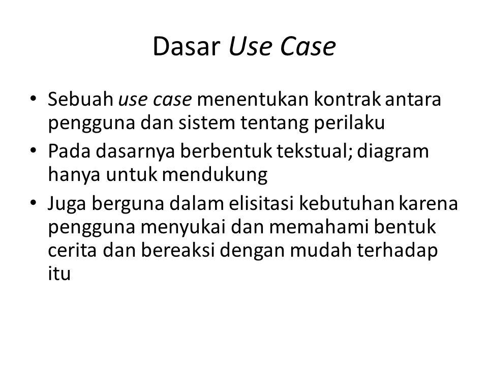 Dasar Use Case Sebuah use case menentukan kontrak antara pengguna dan sistem tentang perilaku Pada dasarnya berbentuk tekstual; diagram hanya untuk mendukung Juga berguna dalam elisitasi kebutuhan karena pengguna menyukai dan memahami bentuk cerita dan bereaksi dengan mudah terhadap itu