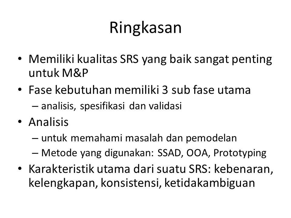 Ringkasan Memiliki kualitas SRS yang baik sangat penting untuk M&P Fase kebutuhan memiliki 3 sub fase utama – analisis, spesifikasi dan validasi Anali