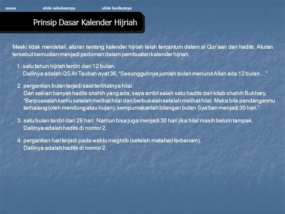 Meski tidak mendetail, aturan tentang kalender hijriah telah tercantum dalam al Qur'aan dan hadits.