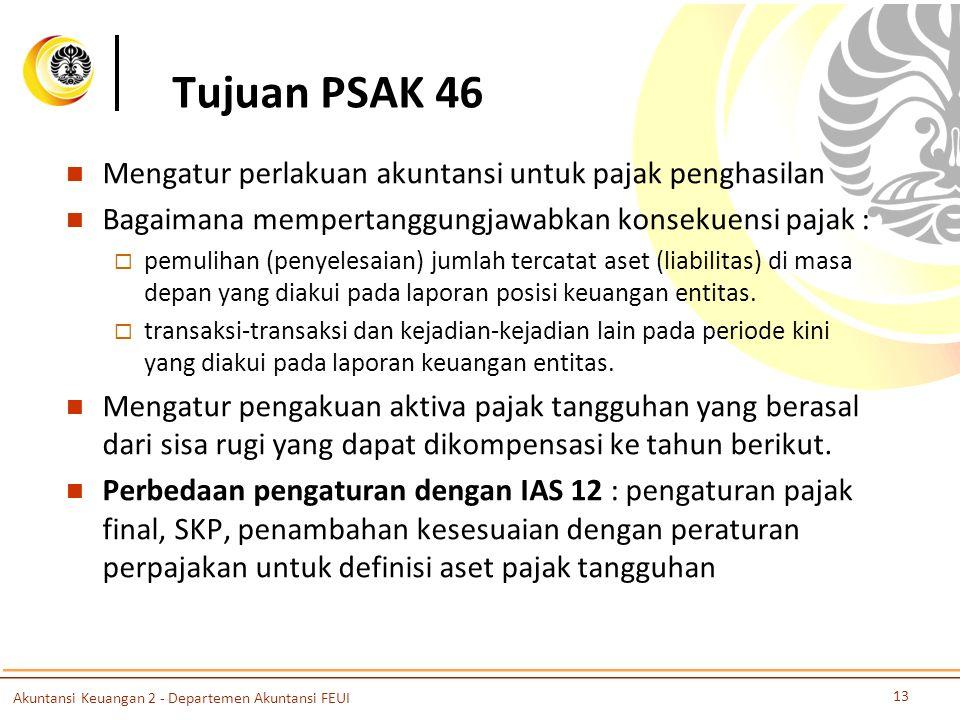 Tujuan PSAK 46 Mengatur perlakuan akuntansi untuk pajak penghasilan Bagaimana mempertanggungjawabkan konsekuensi pajak :  pemulihan (penyelesaian) ju