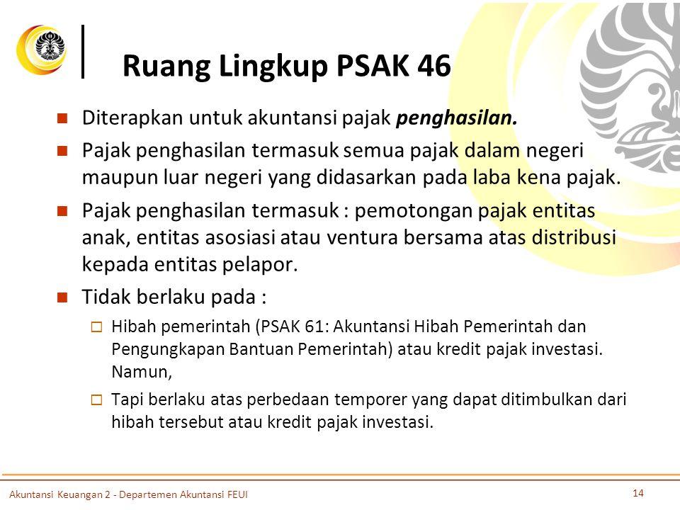 Ruang Lingkup PSAK 46 Diterapkan untuk akuntansi pajak penghasilan. Pajak penghasilan termasuk semua pajak dalam negeri maupun luar negeri yang didasa