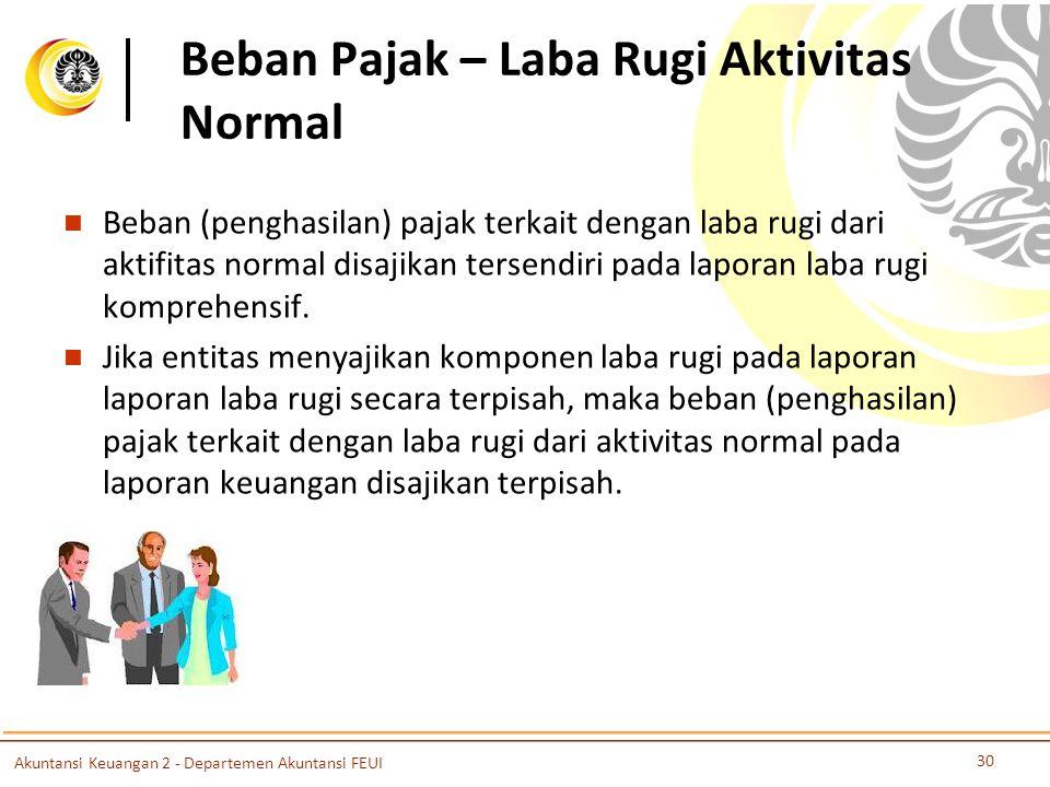 Beban Pajak – Laba Rugi Aktivitas Normal Beban (penghasilan) pajak terkait dengan laba rugi dari aktifitas normal disajikan tersendiri pada laporan la