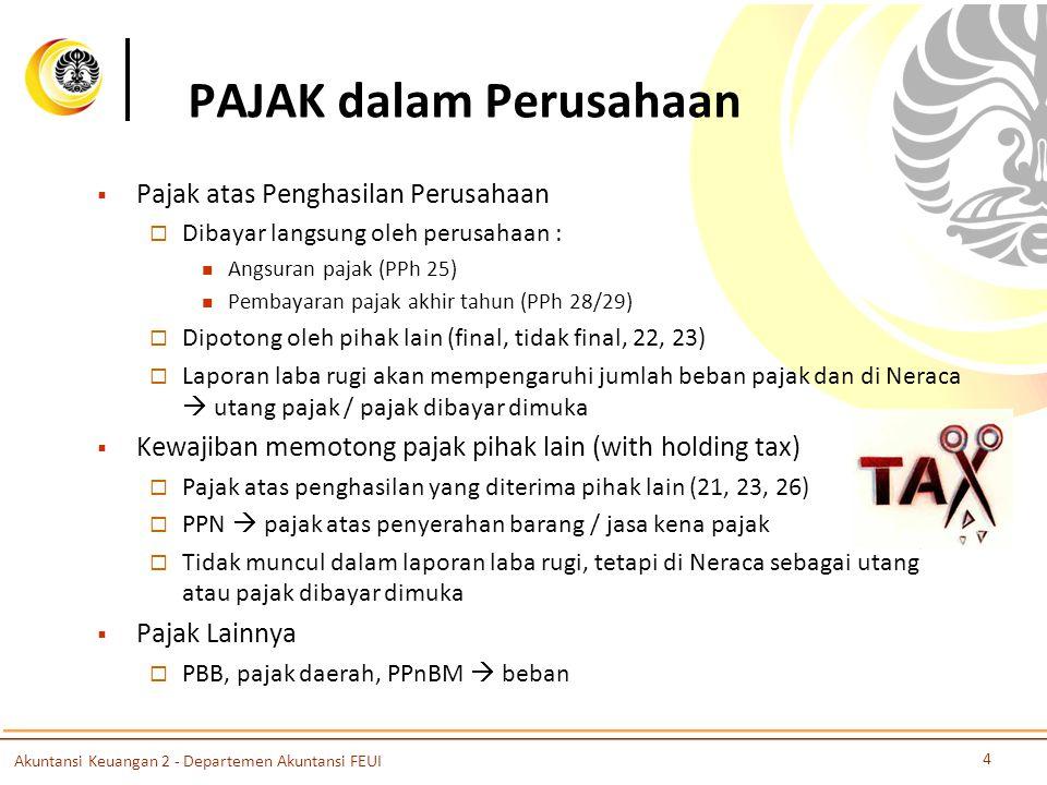 PAJAK dalam Perusahaan  Pajak atas Penghasilan Perusahaan  Dibayar langsung oleh perusahaan : Angsuran pajak (PPh 25) Pembayaran pajak akhir tahun (