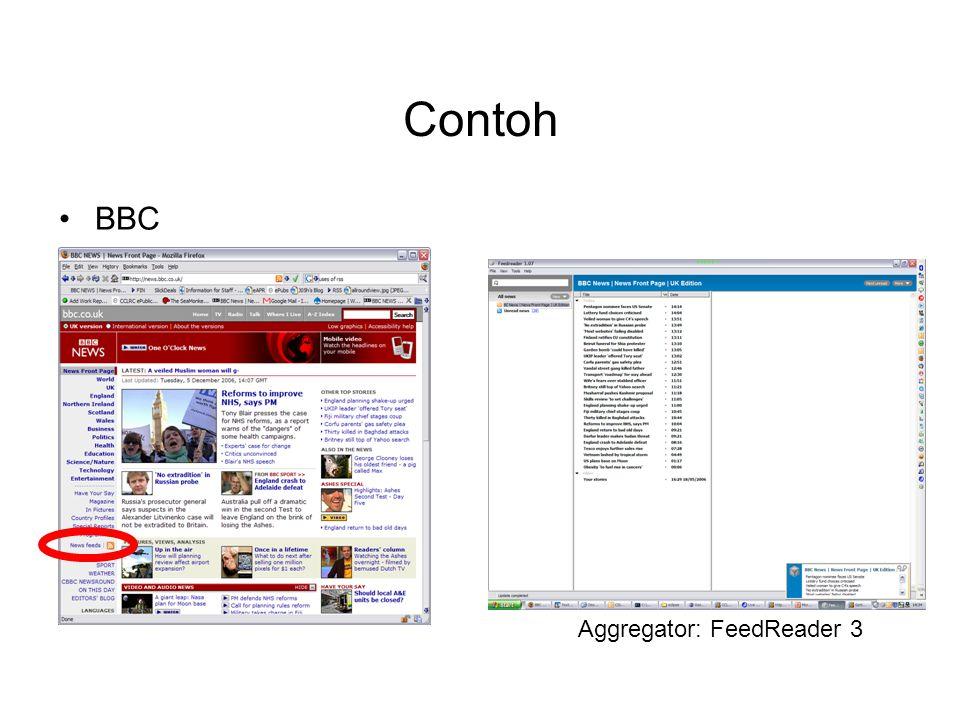 Contoh BBC Aggregator: FeedReader 3