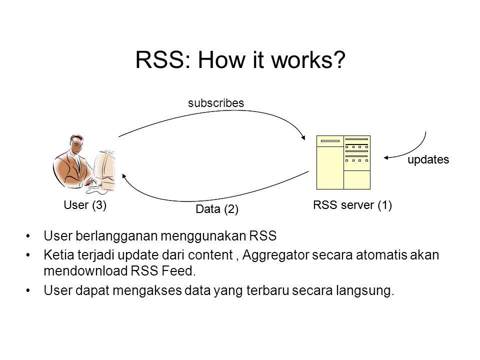 RSS: How it works? User berlangganan menggunakan RSS Ketia terjadi update dari content, Aggregator secara atomatis akan mendownload RSS Feed. User dap