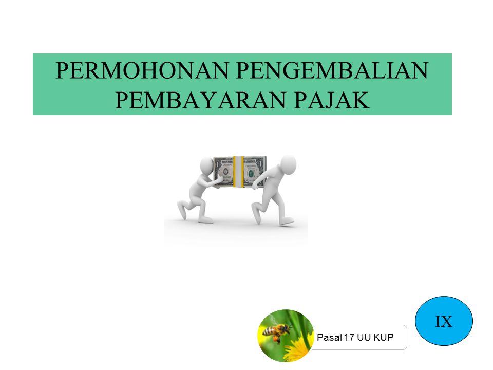 PERMOHONAN PENGEMBALIAN PEMBAYARAN PAJAK IX Pasal 17 UU KUP
