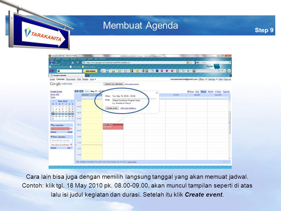 TARAKANITA Cara lain bisa juga dengan memilih langsung tanggal yang akan memuat jadwal.