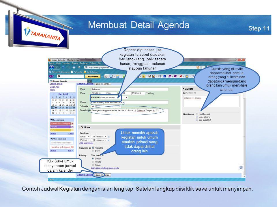 TARAKANITA Step 11 Membuat Detail Agenda Contoh Jadwal Kegiatan dengan isian lengkap.
