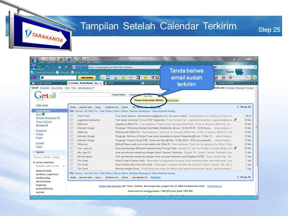 TARAKANITA Tanda bahwa email sudah terkirim Step 25 Tampilan Setelah Calendar Terkirim