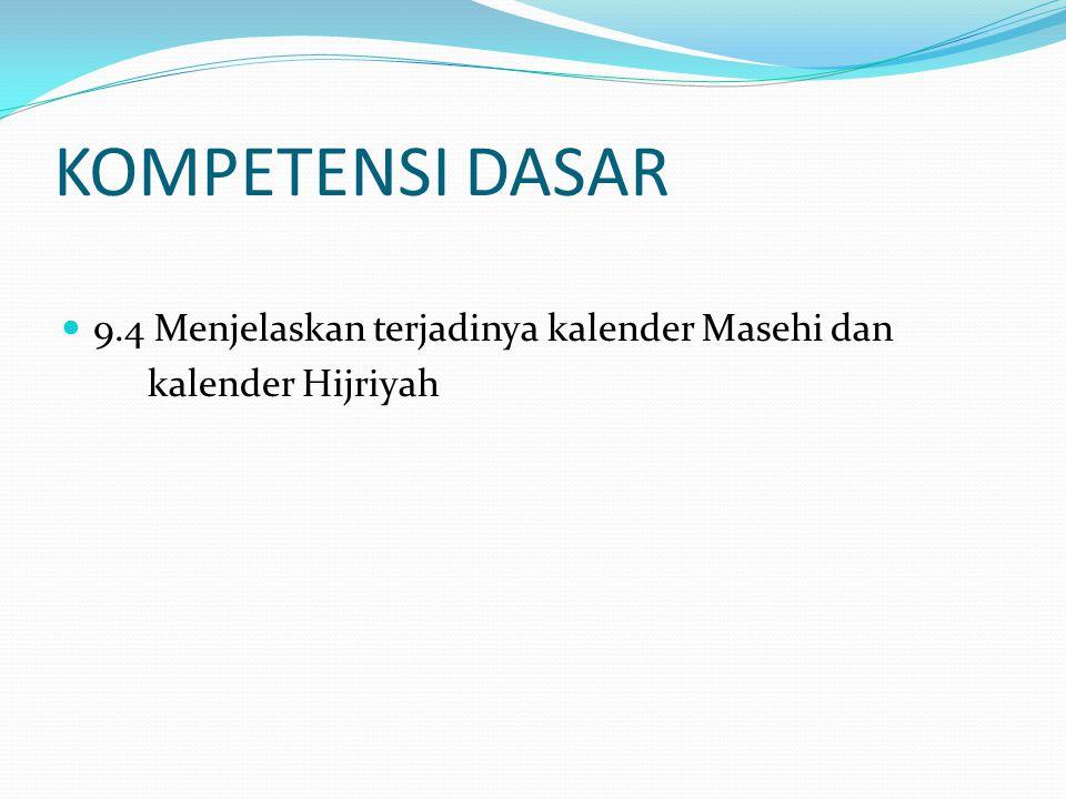 KOMPETENSI DASAR 9.4 Menjelaskan terjadinya kalender Masehi dan kalender Hijriyah