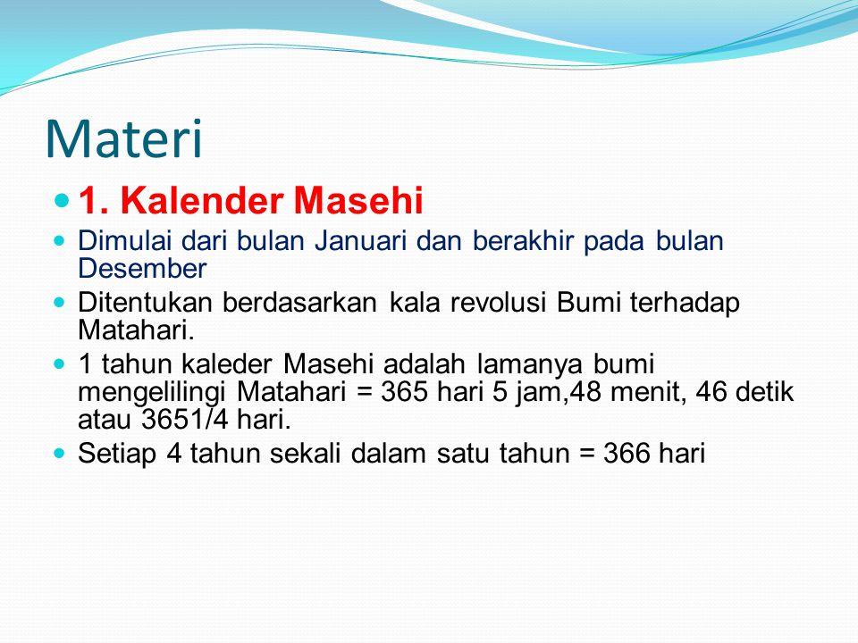 Materi 1. Kalender Masehi Dimulai dari bulan Januari dan berakhir pada bulan Desember Ditentukan berdasarkan kala revolusi Bumi terhadap Matahari. 1 t
