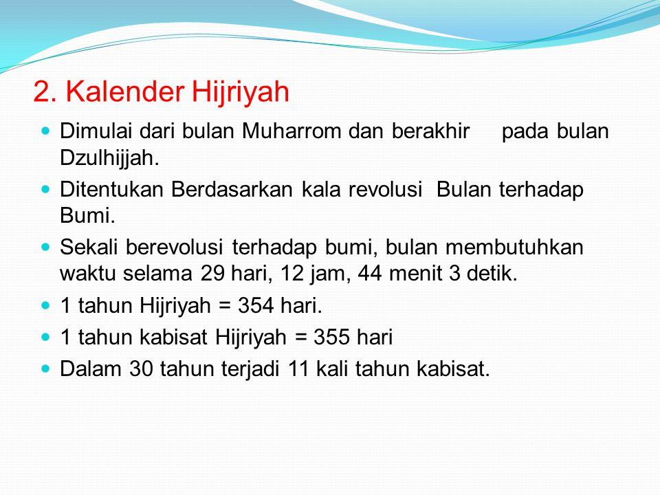 2. Kalender Hijriyah Dimulai dari bulan Muharrom dan berakhir pada bulan Dzulhijjah. Ditentukan Berdasarkan kala revolusi Bulan terhadap Bumi. Sekali