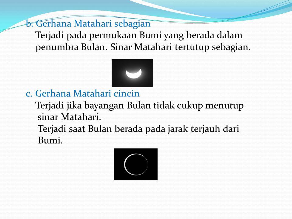 b. Gerhana Matahari sebagian Terjadi pada permukaan Bumi yang berada dalam penumbra Bulan. Sinar Matahari tertutup sebagian. c. Gerhana Matahari cinci