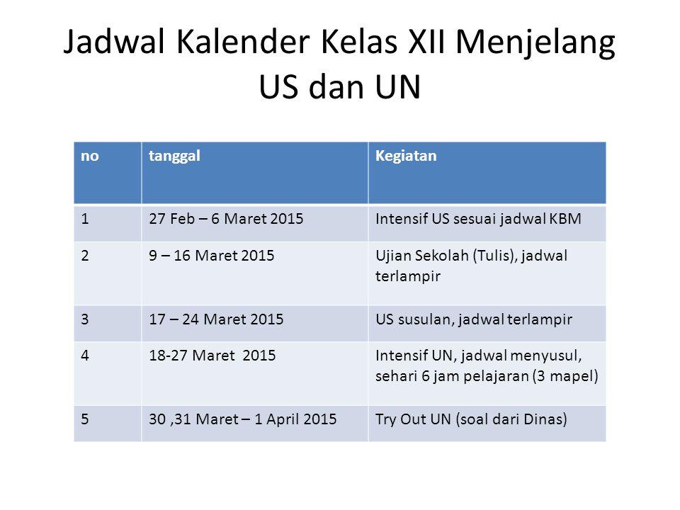 Jadwal Kalender Kelas XII Menjelang US dan UN notanggalKegiatan 127 Feb – 6 Maret 2015Intensif US sesuai jadwal KBM 29 – 16 Maret 2015Ujian Sekolah (T