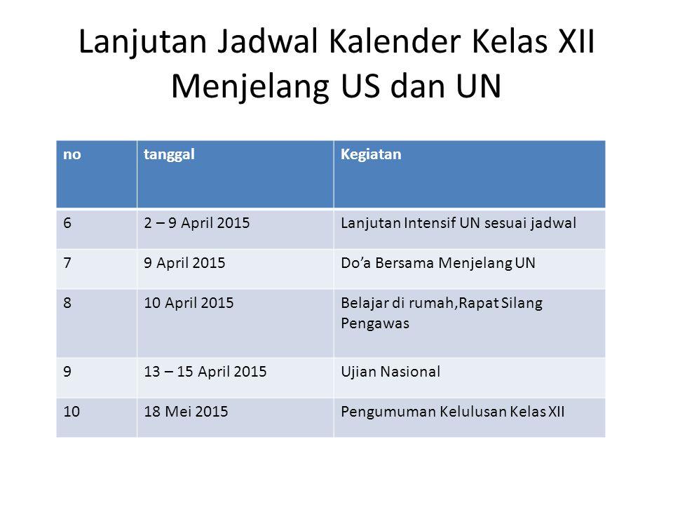 Lanjutan Jadwal Kalender Kelas XII Menjelang US dan UN notanggalKegiatan 62 – 9 April 2015Lanjutan Intensif UN sesuai jadwal 79 April 2015Do'a Bersama