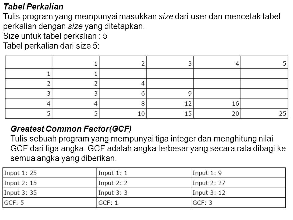 Tabel Perkalian Tulis program yang mempunyai masukkan size dari user dan mencetak tabel perkalian dengan size yang ditetapkan. Size untuk tabel perkal